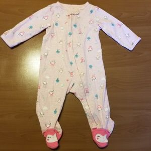 Carter's Pastel Owl Footed Zip Up Pajamas 9 Months